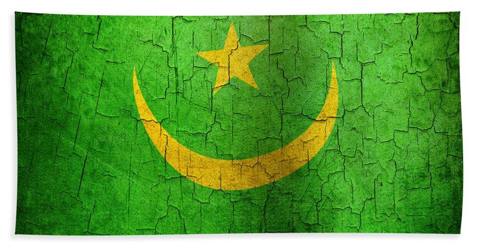 Aged Bath Sheet featuring the digital art Grunge Mauritania Flag by Steve Ball