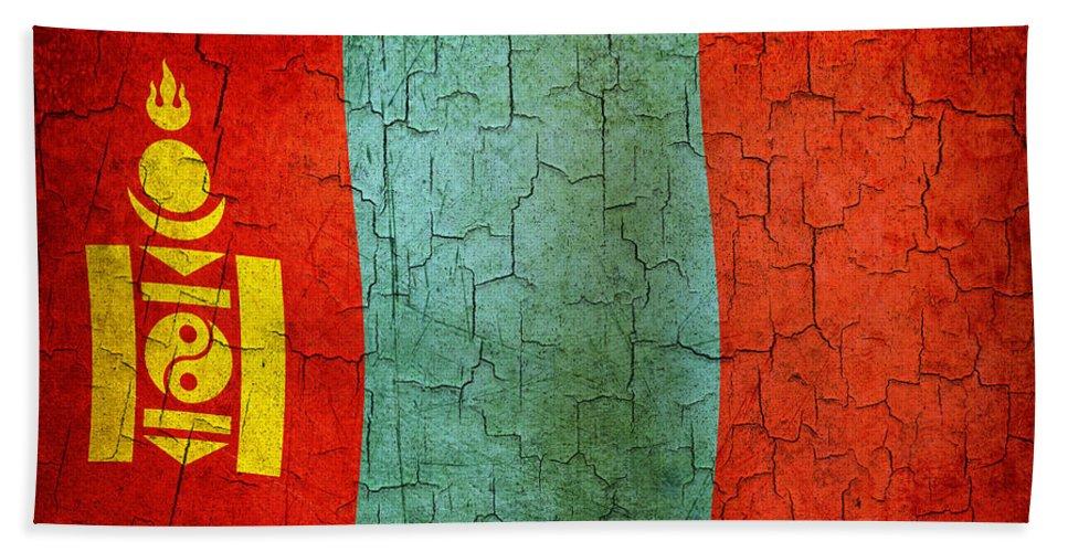 Aged Bath Sheet featuring the digital art Grunge Mongolia Flag by Steve Ball