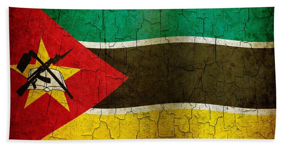 Aged Bath Sheet featuring the digital art Grunge Mozambique Flag by Steve Ball