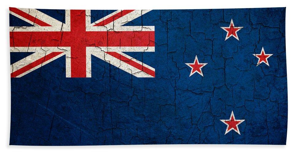 Aged Bath Sheet featuring the digital art Grunge New Zealand Flag by Steve Ball