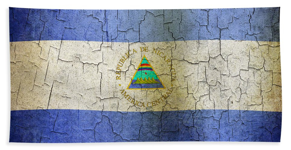 Aged Bath Sheet featuring the digital art Grunge Nicaragua Flag by Steve Ball