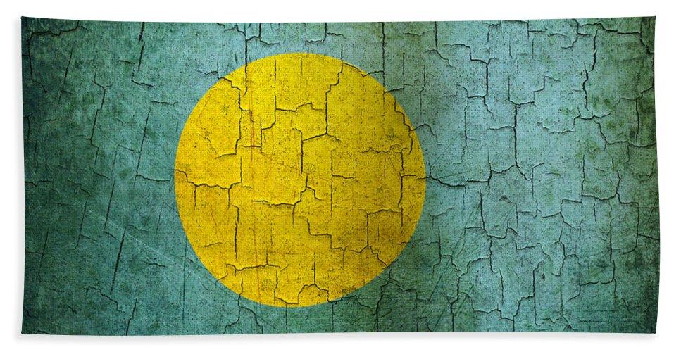 Aged Bath Sheet featuring the digital art Grunge Palau Flag by Steve Ball