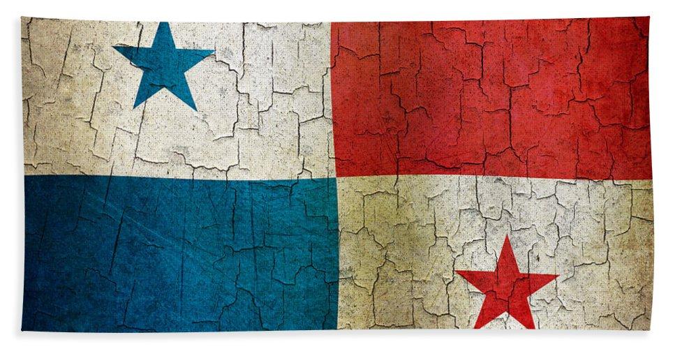 Aged Bath Sheet featuring the digital art Grunge Panama Flag by Steve Ball