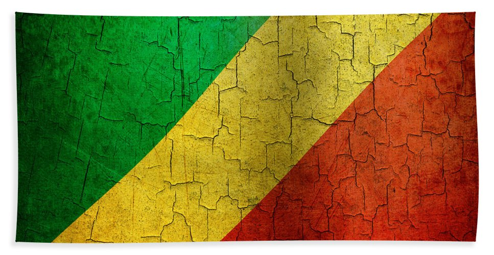 Aged Bath Sheet featuring the digital art Grunge Republic Of The Congo Flag by Steve Ball