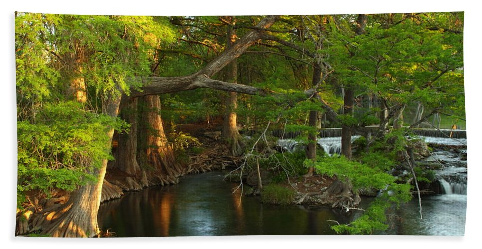 Guadalupe River Bath Sheet featuring the photograph Guadalupe River 2am-115627 by Andrew McInnes