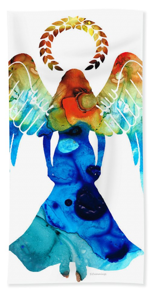 Guardian Hand Towel featuring the painting Guardian Angel - Spiritual Art Painting by Sharon Cummings