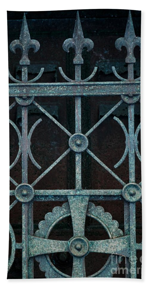Old; Building; Tomb; Monument; Mausoleum; Mystery; Mysterious; Eerie; Spooky; Closed; Gothic; Ornamental; Sanctuary; Dark; Aged; Entrance; Dirty; Facade; Danger; Dramatic; Foreboding; Horror; Iron; Wrought Iron; Fence Hand Towel featuring the photograph Guardian by Margie Hurwich