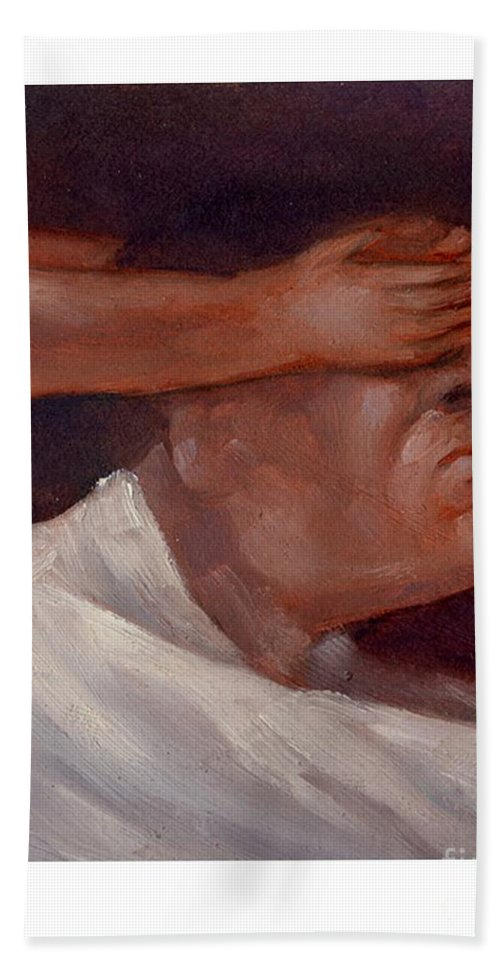Man Hand Towel featuring the painting Guess Who by Chris Van Es