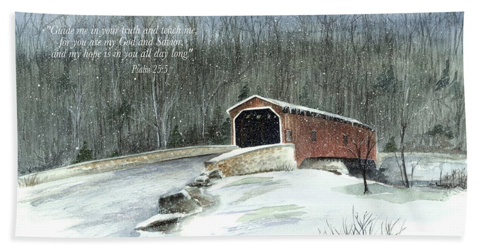 Lancaster County Covered Bridge Hand Towel featuring the painting Guide Me by Nancy Patterson