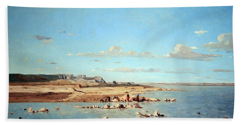 Washerwomen On The Banks Of The Durance Hand Towel featuring the photograph Guigou's Washerwomen On The Banks Of The Durance by Cora Wandel