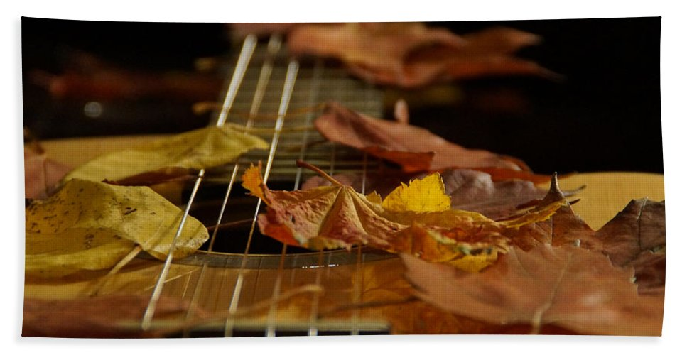 Guitar Bath Sheet featuring the photograph Guitar Autumn 2 by Mick Anderson