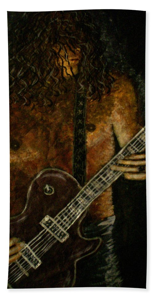 Guitar Hand Towel featuring the painting Guitar In The Zone by Absinthe Art By Michelle LeAnn Scott