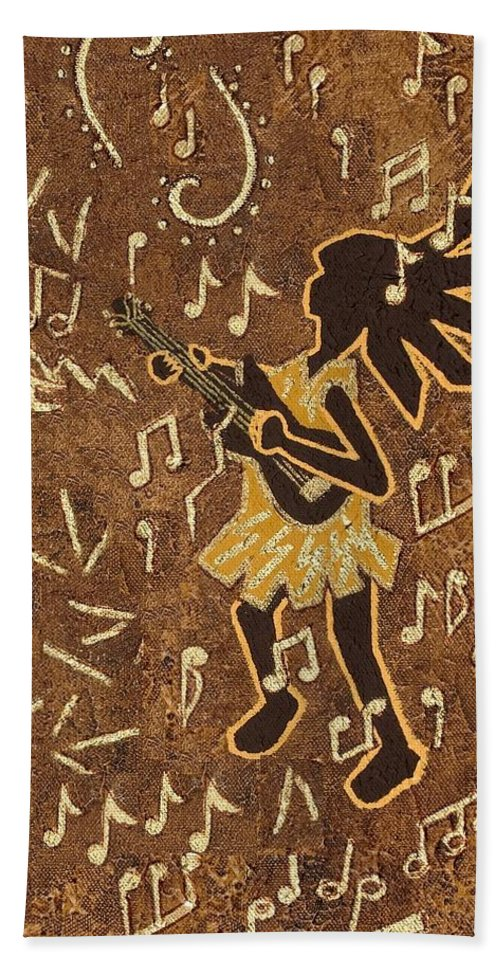 Kokopelli Bath Sheet featuring the painting Guitar Player by Katherine Young-Beck