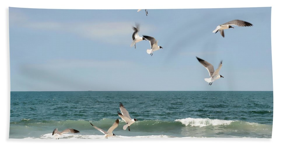 Ocean Hand Towel featuring the photograph Gulls A Dance'n by Diana Angstadt