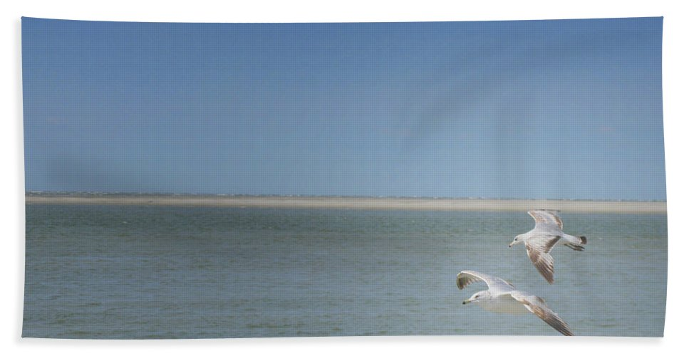 Gulls Hand Towel featuring the photograph Gulls In Flight by Erika Weber