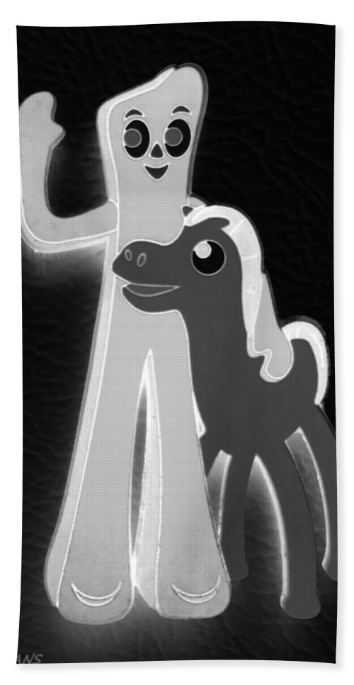Gumby Hand Towel featuring the photograph Gumby And Pokey B F F In Negative B W by Rob Hans