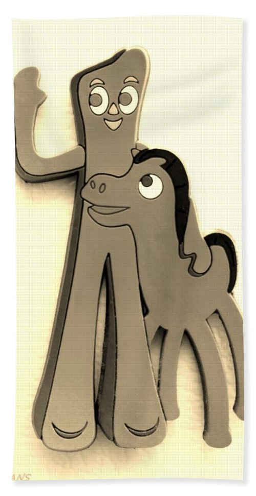Gumby Hand Towel featuring the photograph Gumby And Pokey B F F In Sepia by Rob Hans