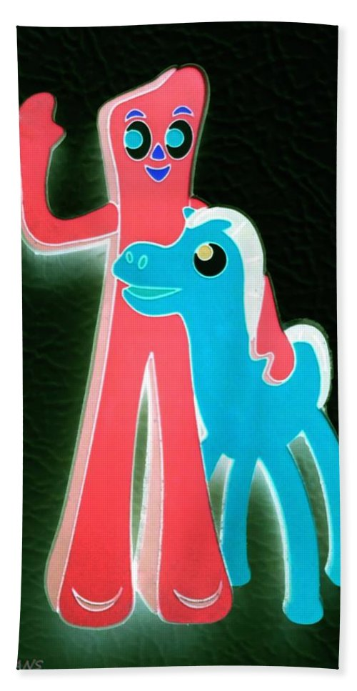 Gumby Hand Towel featuring the photograph Gumby And Pokey B F F Negative by Rob Hans