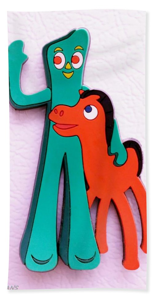 Gumby Hand Towel featuring the photograph Gumby And Pokey B F F by Rob Hans