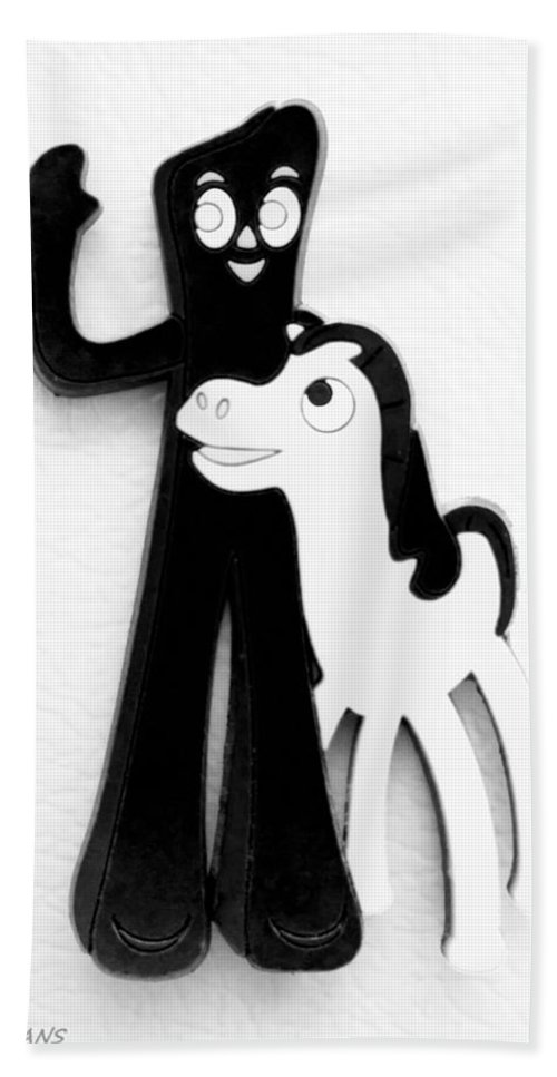 Gumby Hand Towel featuring the photograph Gumby And Pokey B F F White Black by Rob Hans