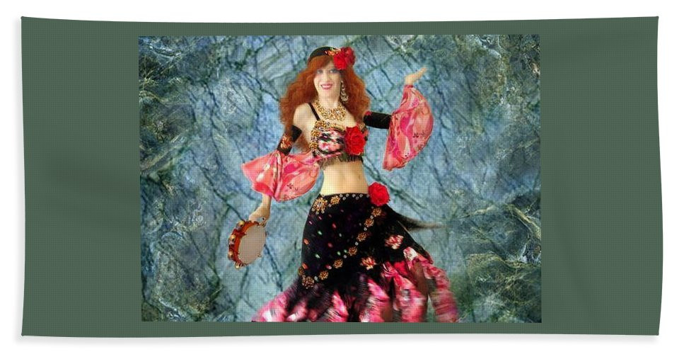 Gypsy Hand Towel featuring the jewelry Gypsy Queen Sofia The Bellydancer by Sofia Metal Queen