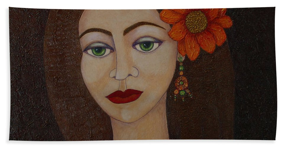 Gypsies Bath Sheet featuring the painting Gypsy With Green Eyes by Madalena Lobao-Tello