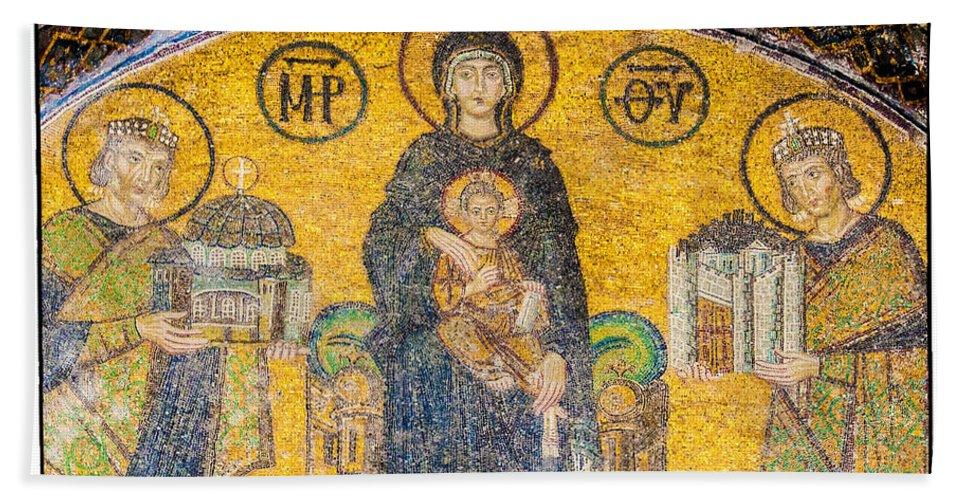 Istanbul Hand Towel featuring the photograph Hagia Sofia Mosaic 03 by Antony McAulay