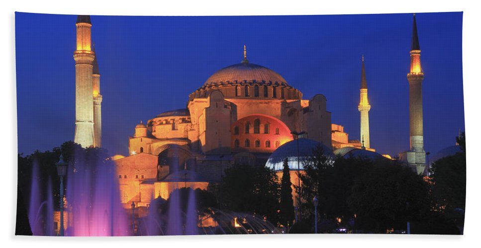 Architecture Bath Sheet featuring the photograph Hagia Sophia At Night Istanbul Turkey by Ivan Pendjakov
