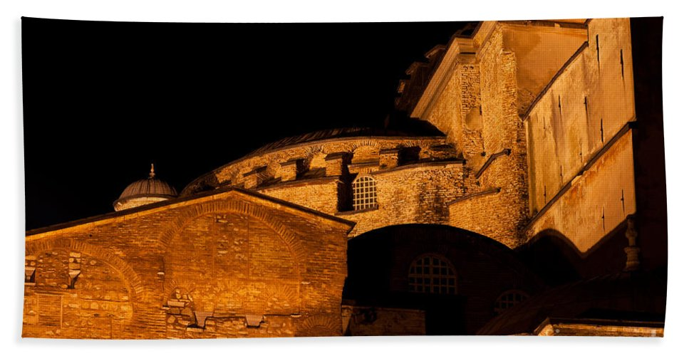 Istanbul Bath Sheet featuring the photograph Hagia Sophia At Night by Rick Piper Photography