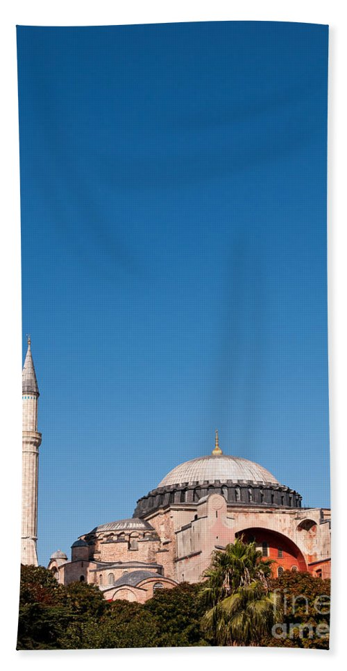 Istanbul Bath Sheet featuring the photograph Hagia Sophia Blue Sky 02 by Rick Piper Photography