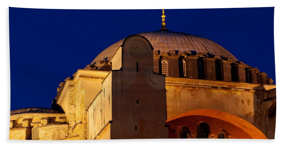 Istanbul Bath Sheet featuring the photograph Hagia Sophia Evening by Rick Piper Photography