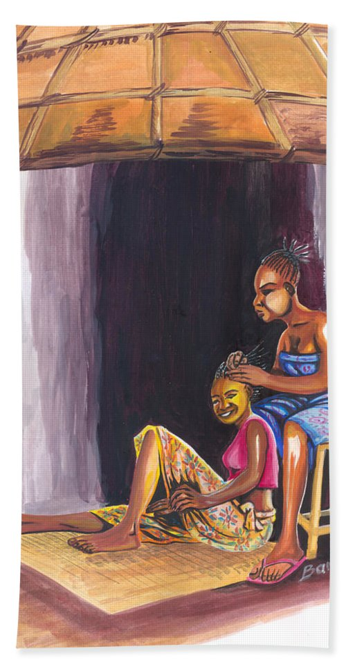 People Hand Towel featuring the painting Hair Dresser In Rwanda by Emmanuel Baliyanga