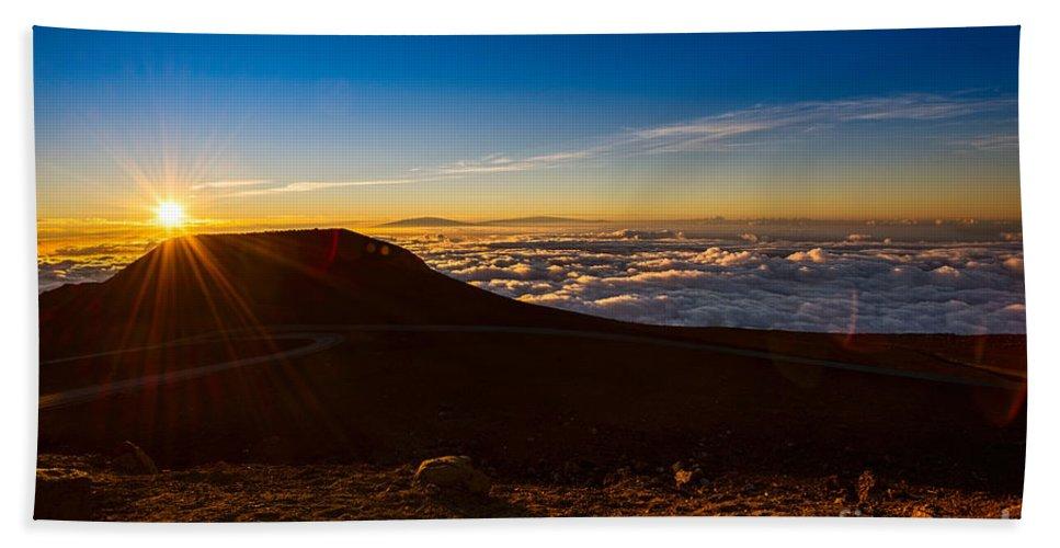 Haleakala Volcano Bath Sheet featuring the photograph Haleakala Burst by Jamie Pham