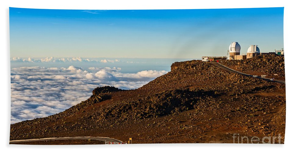 Haleakala Volcano Bath Sheet featuring the photograph Haleakala Observatory In Maui. by Jamie Pham