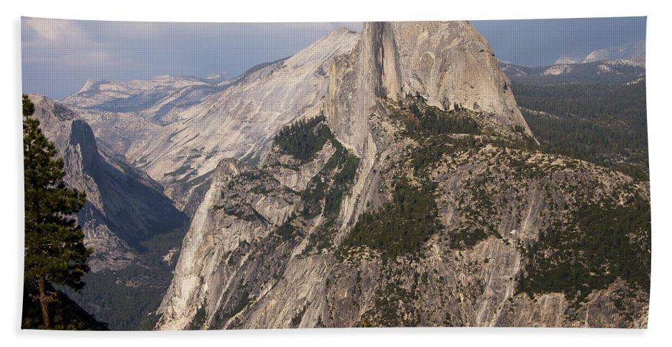 Landmark Landmarks Yosemite National Park California Half Dome Landscape Landscapes Landmark Landmarks Fir Tree Trees Mountain Mountains Parks Bath Sheet featuring the photograph Half Dome From Glacier Point by Bob Phillips