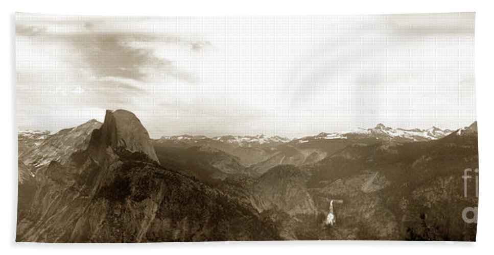 Glacier Point Hand Towel featuring the photograph Half Dome From Glacier Point Yosemite Valley California Circa 1910 by California Views Mr Pat Hathaway Archives