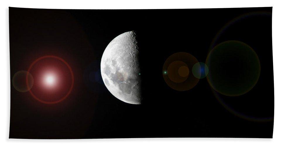 Moon Bath Sheet featuring the photograph Half Moon Lens Flare by Darren Burton