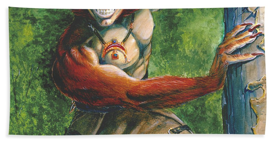 Red Headed Werewolf Hand Towel featuring the painting Half Wolf Werewolf by Melissa A Benson