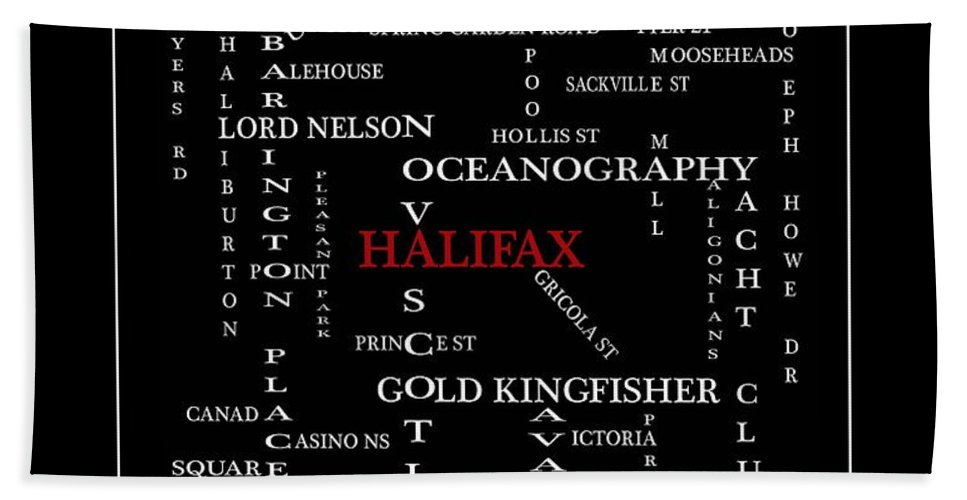 Halifax Nova Scotia Crosswords Red Bath Towel featuring the digital art Halifax Nova Scotia Crosswords Red by Barbara Griffin