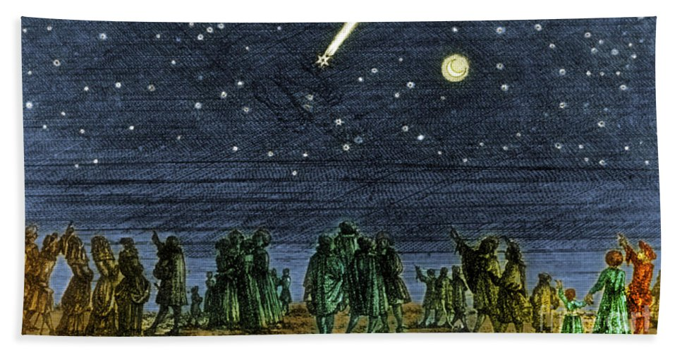 Science Bath Sheet featuring the photograph Halleys Comet 1682 by Science Source