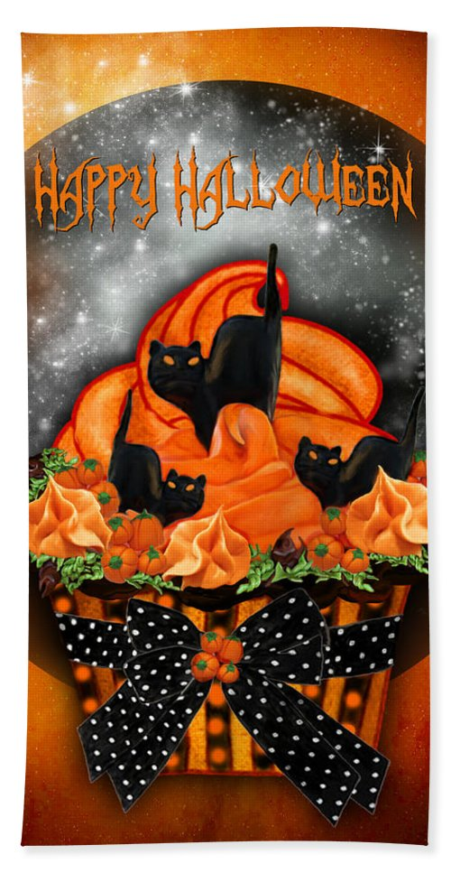 Bath Sheet featuring the mixed media Halloween Black Cat Cupcake 1 by Carol Cavalaris