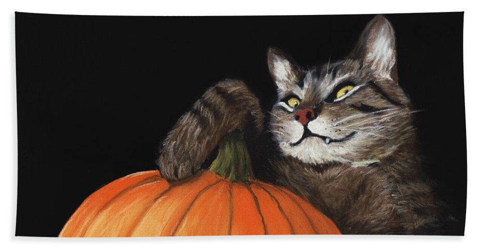 Cat Bath Towel featuring the painting Halloween Cat by Anastasiya Malakhova