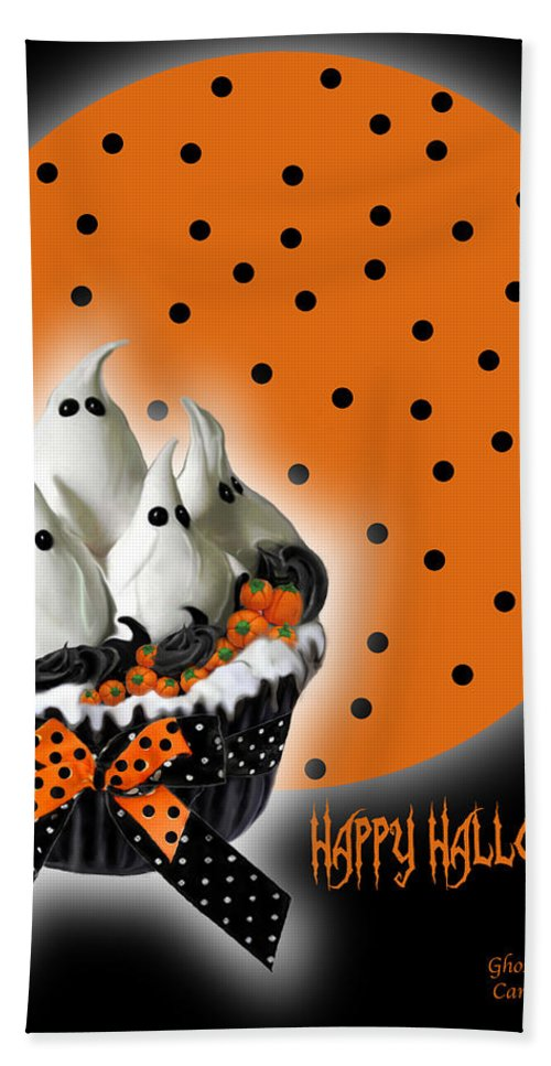 Halloween Art Bath Sheet featuring the mixed media Halloween Ghost Cupcake 2 by Carol Cavalaris