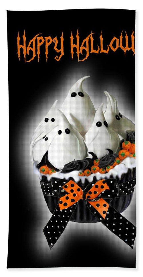 Halloween Art Bath Sheet featuring the mixed media Halloween Ghost Cupcake 3 by Carol Cavalaris
