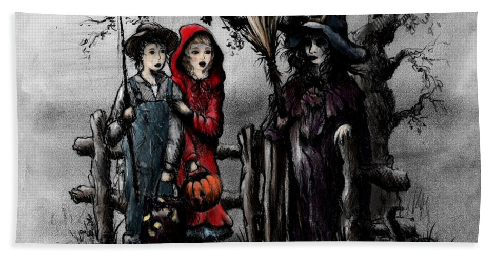 Halloween Hand Towel featuring the drawing Halloween Night by Rachel Christine Nowicki
