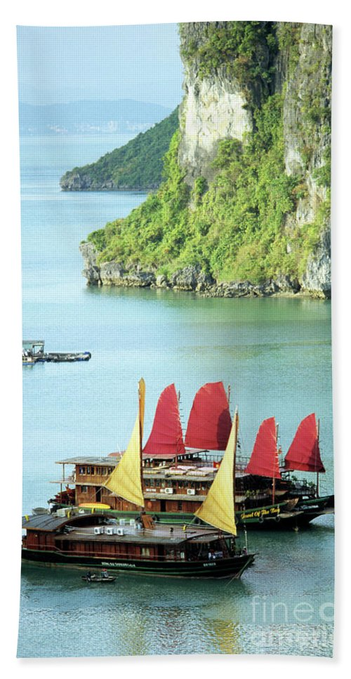 Vietnam Bath Sheet featuring the photograph Halong Bay Sails 02 by Rick Piper Photography
