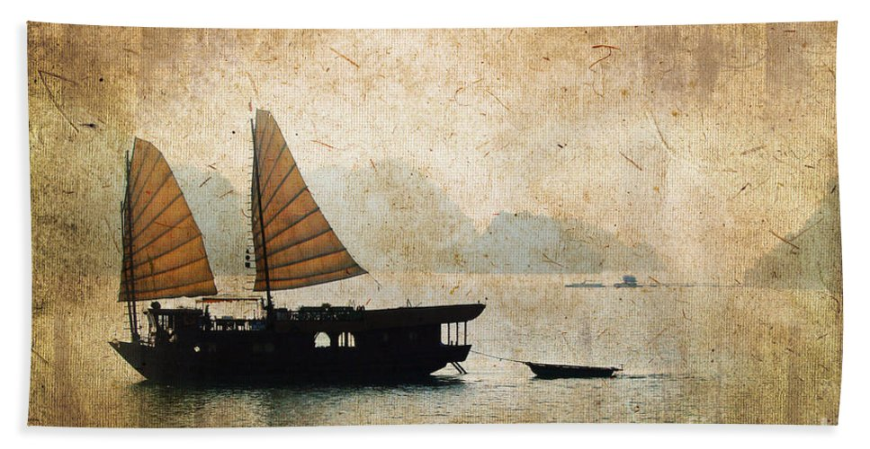 Vietnam Bath Sheet featuring the photograph Halong Bay Vintage by Delphimages Photo Creations