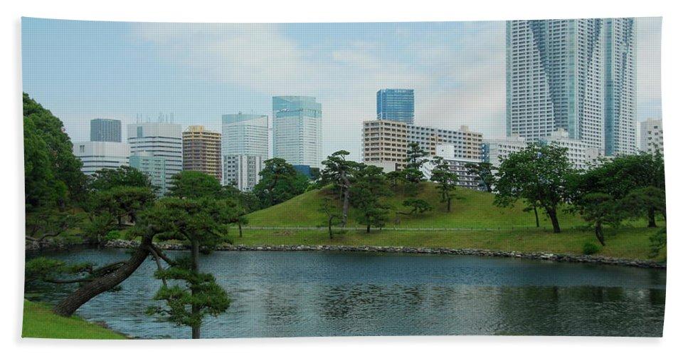 Japanese Hand Towel featuring the photograph Hama Rikyu Japanese Garden by Jonah Anderson