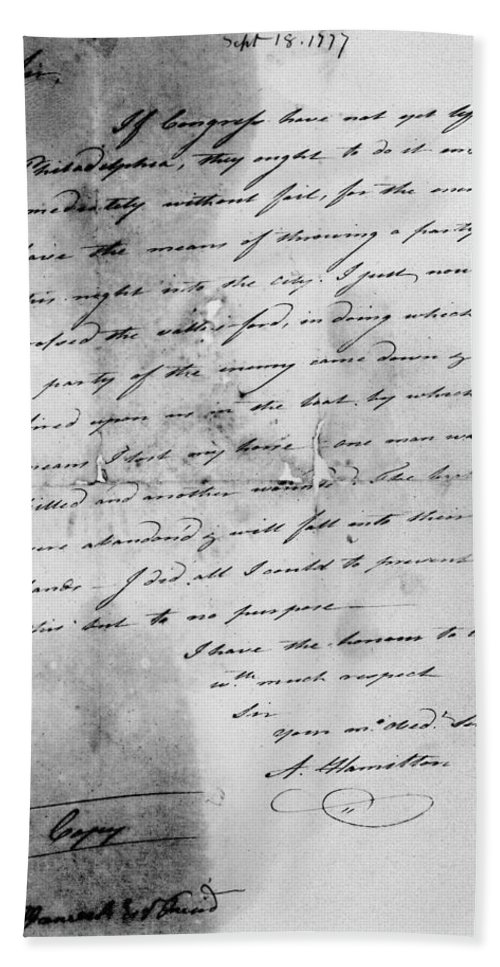 1777 Hand Towel featuring the photograph Hamilton: Letter, 1777 by Granger