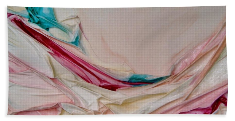 Abstract Hand Towel featuring the painting Hammock by Graciela Castro